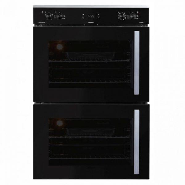 DEFY Gemini Multifunction Double Oven Black Glass DBO467